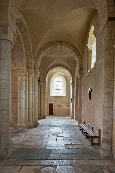 Side aisle, Abbaye Sainte Trinité, Lessay (Manche) Photo by PJ McKey