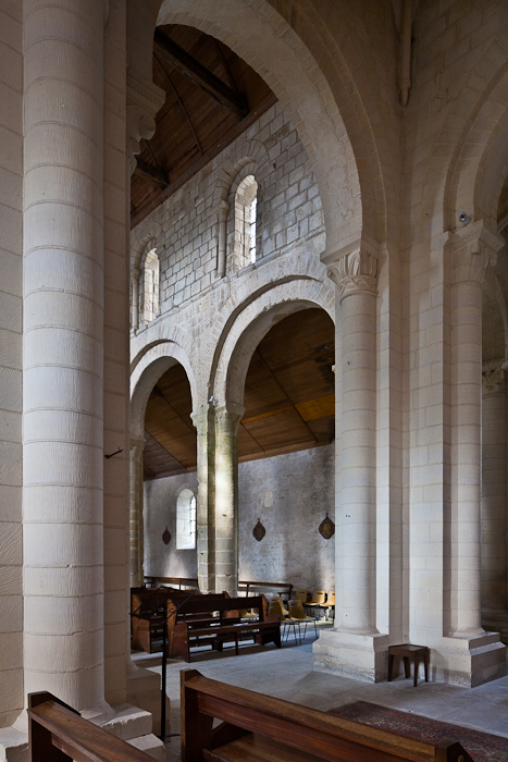Nave elevation through crossing arch, Église Saint-Sulpice, Secqueville-en-Bessin (Calvados) Photo by PJ McKey