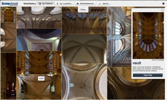 MetaGallery - Image cluster in zoom mode with selected image and caption, and linkback to article