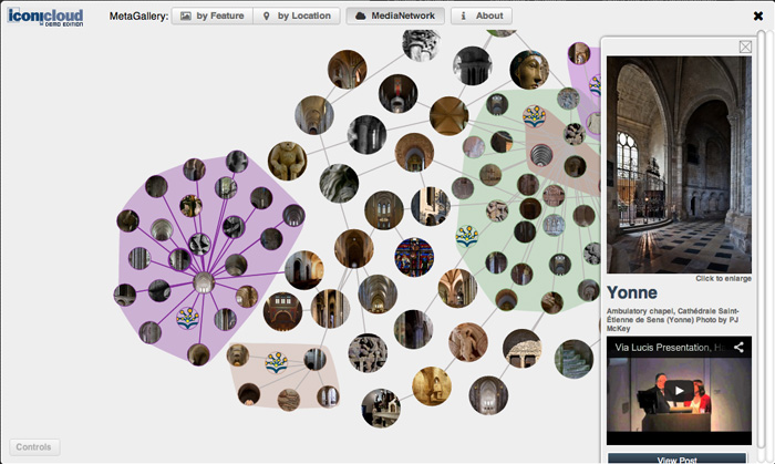 MediaNetwork - Selected image clusters opened with linked mixed media resources e.g. image gallery and video playback, plus linkbacks to articles and additional links to related DBPedia/Wikipedia resources and Google Maps
