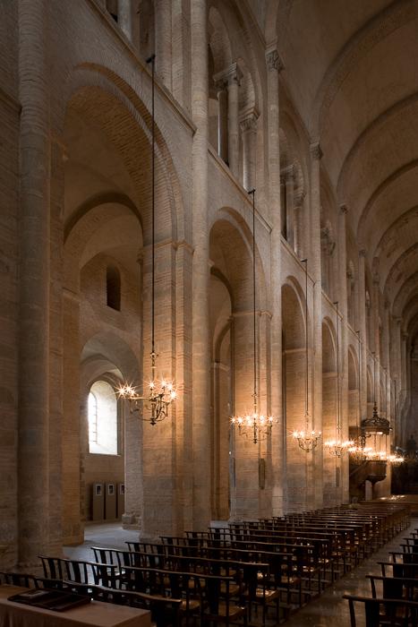 Nave elevation, Basilique Saint Sernin, Toulouse (Haute-Garonne)  Photo by Dennis Aubrey
