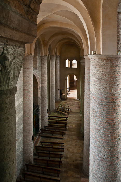 Side aisle from Saint Michael's chapel, Basilique Saint Philibert, Tournus (Saône-et-Loire) Photo by PJ McKey