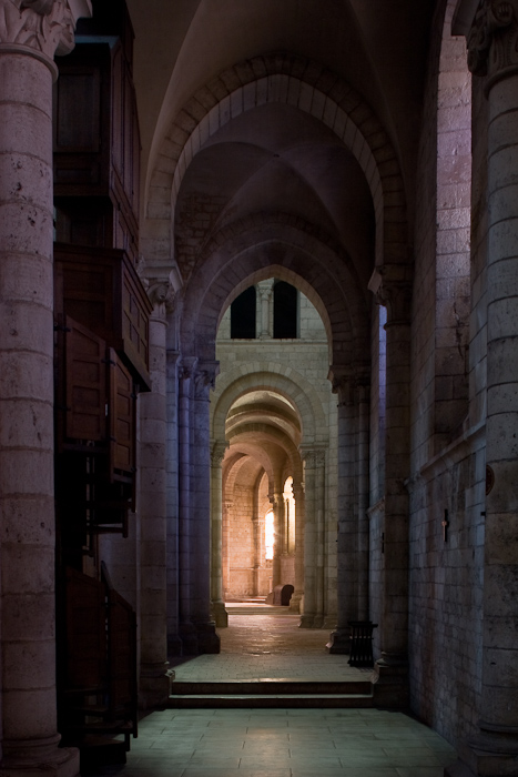 South side aisle, Abbaye Notre Dame de Fontgombault, Fontgombault  (Indre)  Photo by Dennis Aubrey