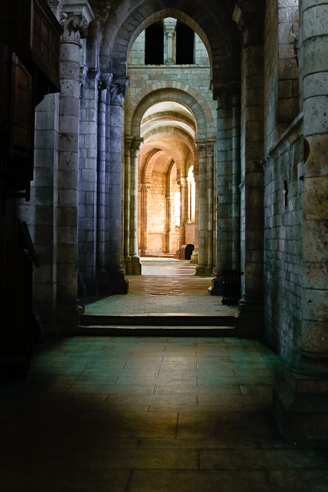 Side aisle, Abbaye Notre Dame de Fontgombault, Fontgombault (Indre) Photo by PJ McKey