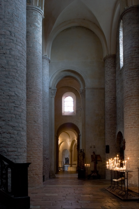 South side aisle, Basilique Saint Philibert, Tournus (Saône-et-Loire) Photo by Dennis Aubrey
