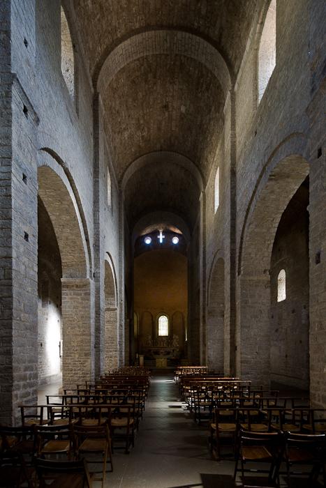 Nave, Abbaye de Gellone, Saint-Guilhem-le-Désert (Hérault) Photo by Dennis Aubrey