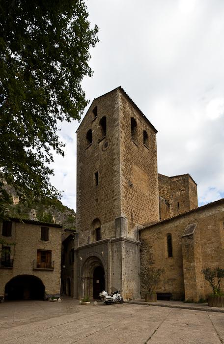 Western facade, Abbaye de Gellone, Saint-Guilhem-le-Désert (Hérault) Photo by Dennis Aubrey