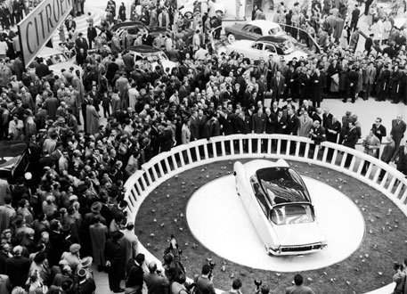 The launch of the Citroën DS19 at the 1955 Paris Motor Show (Photo from Design Museum, London)
