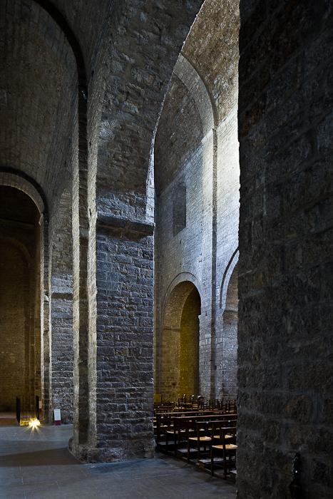 Side aisle, Abbaye de Gellone, Saint-Guilhem-le-Désert (Hérault) Photo by PJ McKey