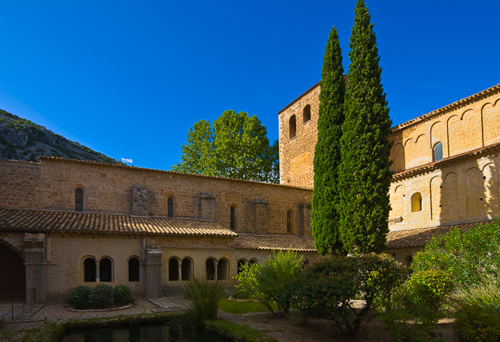 Cloister, Abbaye de Gellone, Saint-Guilhem-le-Désert (Hérault) Photo by Dennis Aubrey