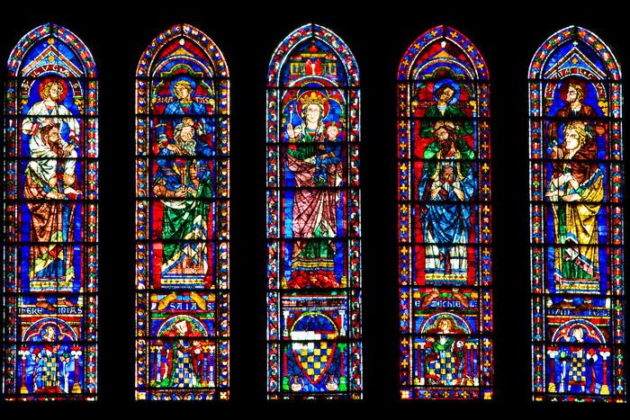 The south transept lancets, Cathédrale Notre Dame de Chartres, Chartres (Eure-et-Loire) Photo by Dennis Aubrey