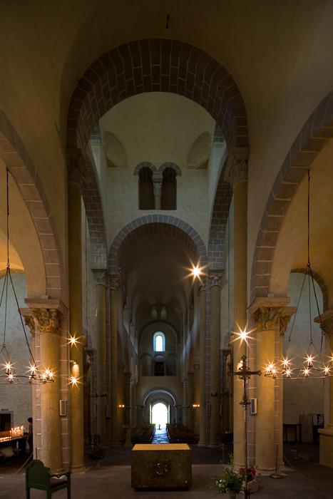 Nave looking west, Basilique Notre Dame de Saint Nectaire, Saint Nectaire (Puy-de-Dôme) Photo by Dennis Aubrey