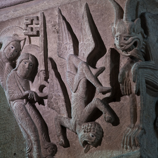 Capital - Fall of Simon Magus, Cathédrale Saint Lazare, Autun (Côte-d'Or)  Photo by Dennis Aubrey