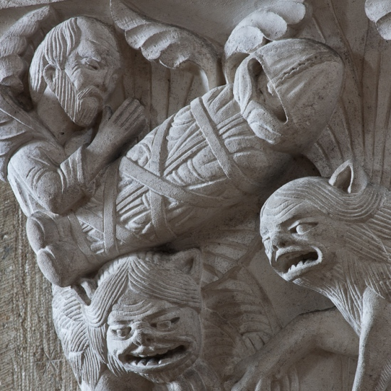 Capital – Funeral of Saint Paul the Hermit, Basilique Sainte Madeleine, Vézelay (Yonne) Photo by Dennis Aubrey