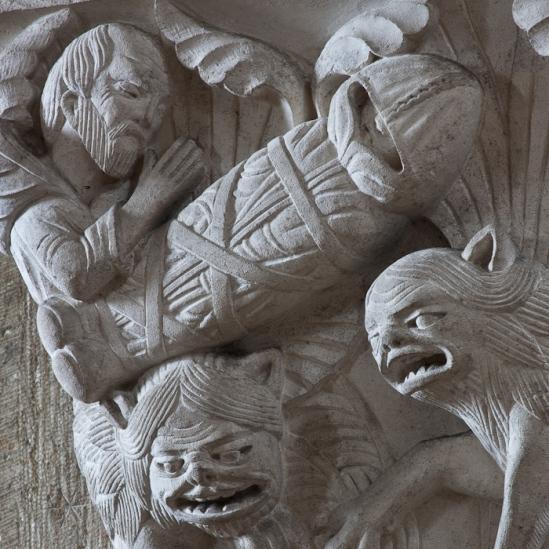 Capital – Funeral of Saint Paul the Hermit, Basilique Sainte Madeleine, Vézelay (Yonne) Photo by Dennis Aubrey