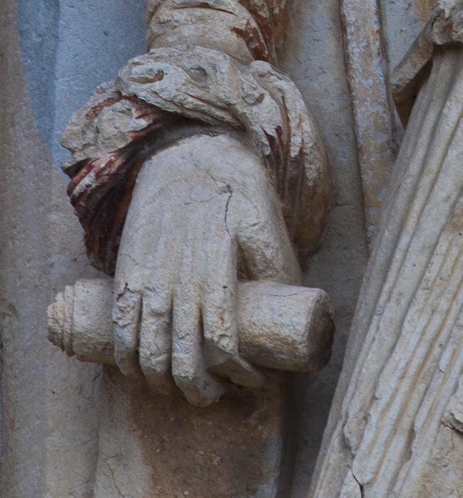 Isaiah hand detail, Église Notre-Dame du Pré, Donzy-le-Pré (Nièvre) Photo by Dennis Aubrey