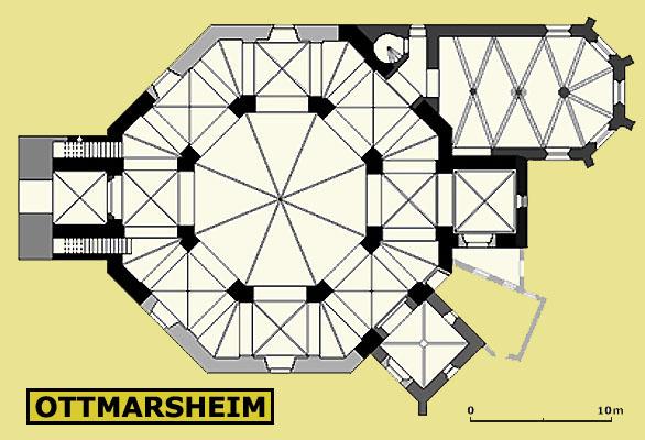 Plan, Église Saint-Pierre-et-Saint-Paul à Ottmarsheim, Ottmarsheim (Haut-Rhin)  (Encyclopédie BS)