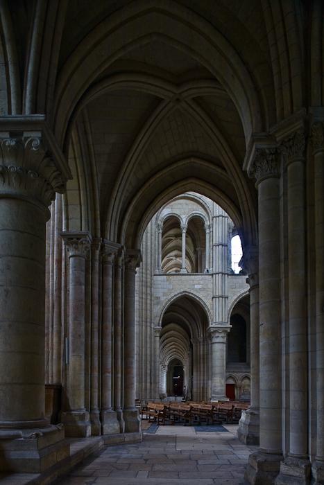 View from choir side aisle, Cathédrale Notre Dame de Laon, Laon (Aisne) Photo by PJ McKey