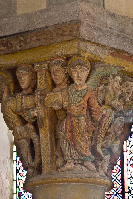 Capital - the Redeemer's Cross, Basilique Notre Dame de Saint Nectaire, Saint Nectaire (Puy-de-Dôme) Photo by PJ McKey