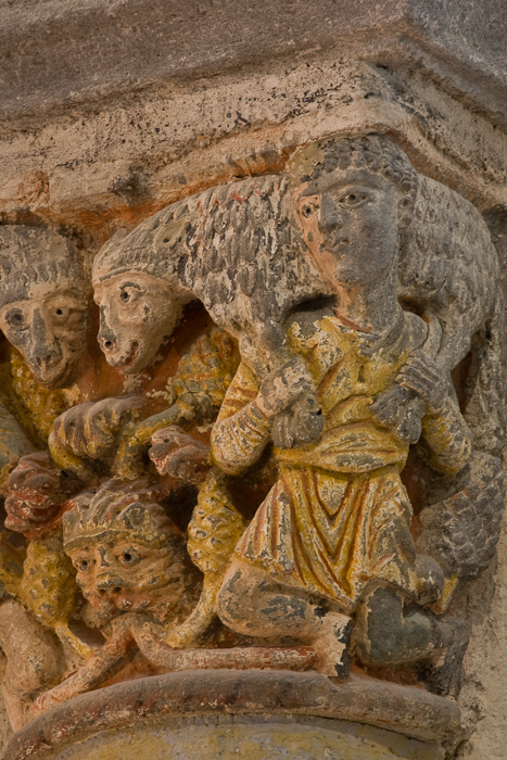 Capital, the Sheep Carriers, Basilique Notre Dame de Saint Nectaire, Saint Nectaire (Puy-de-Dôme) Photo by PJ McKey