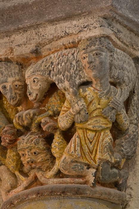 Capital, the Sheep Carriers, Basilique Notre Dame de Saint Nectaire, Saint Nectaire (Puy-de-Dôme) Photo by PJ McKey