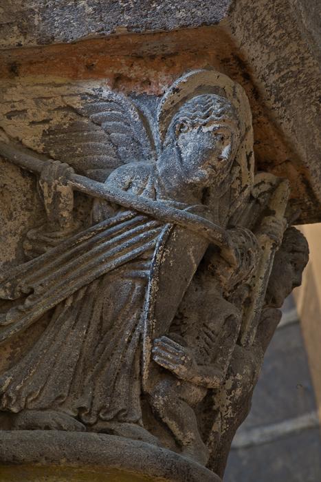 Capital - Combat of the Angels against the Forces of Evil, Basilique Notre Dame de Saint Nectaire, Saint Nectaire (Puy-de-Dôme) Photo by PJ McKey