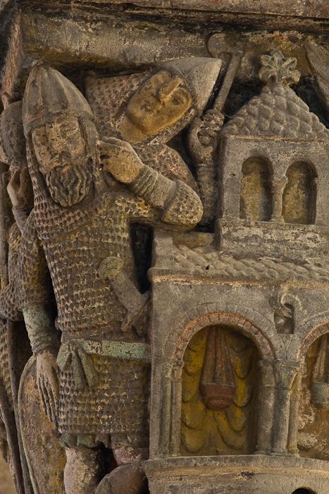 Capital - the Tomb of Christ, Basilique Notre Dame de Saint Nectaire, Saint Nectaire (Puy-de-Dôme) Photo by PJ McKey