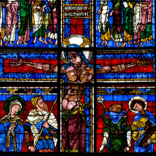 Crucifixion window detail - Cathédrale Saint Pierre, Poitiers (Vienne)  Photo by Dennis Aubrey