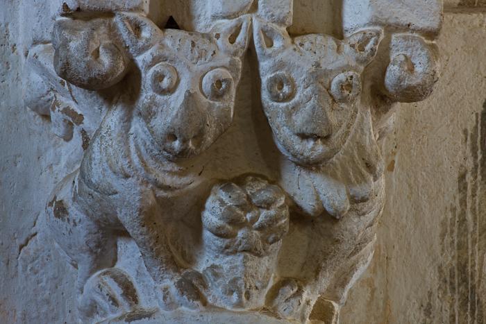 Nave capital of two lions, Église Saint-Pierre-aux-Liens,  Varenne-l'Arconce (Saône-et-Loire)  Photo by Dennis Aubrey