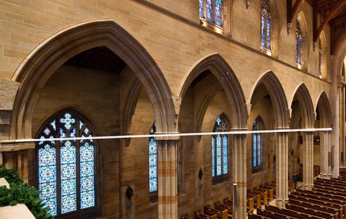 Elevation difference in nave capitals – Bryn Athyn Cathedral, Bryn Athyn (Pennsylvania) Photo by Dennis Aubrey