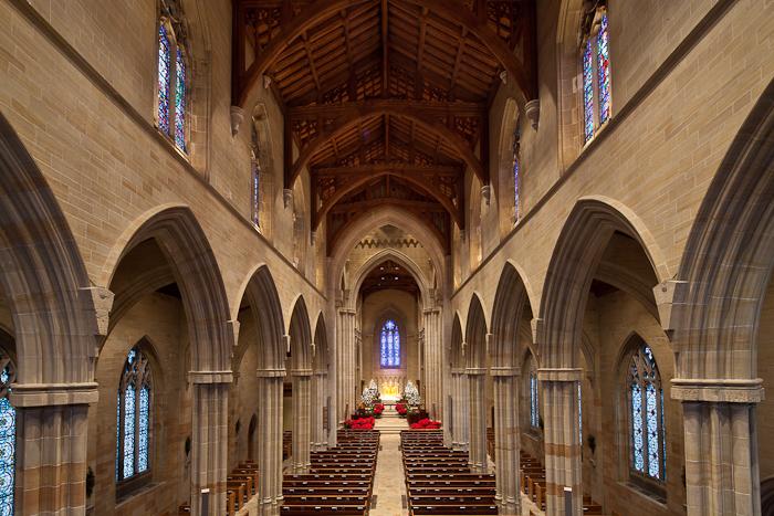 Nave from choir loft, Bryn Athyn Cathedral, Bryn Athyn (Pennsylvania)  Photo by Dennis Aubrey