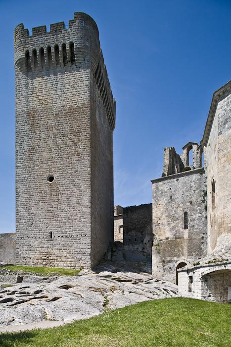 Tower of Pons de L'Orme and sarcophagi, Abbaye Saint-Pierre de Montmajour, Arles (Bouches-du-Rhône) Photo by PJ McKey