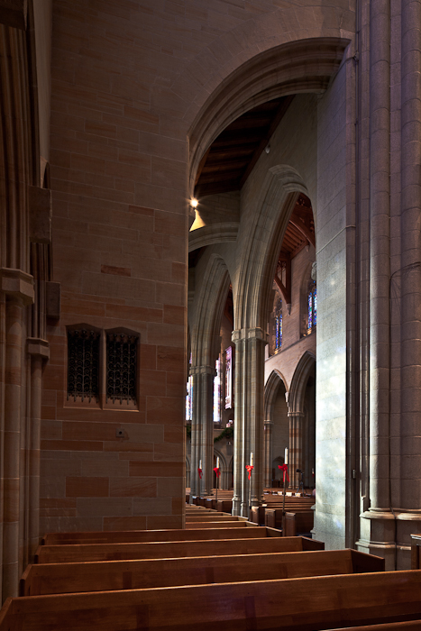 Nave from south transept, Bryn Athyn Cathedral, Bryn Athyn (Pennsylvania) Photo by PJ McKey