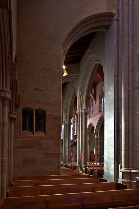 Nave from south transept, Bryn Athyn Cathedral, Bryn Athyn (Pennsylvania) Photo by PJ McKey