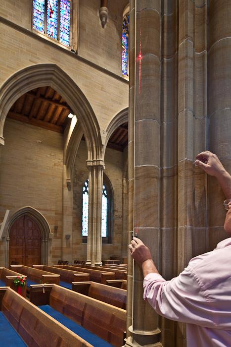 Dennis using laser to determine entasis, Bryn Athyn Cathedral, Bryn Athyn (Pennsylvania) Photo by PJ McKey
