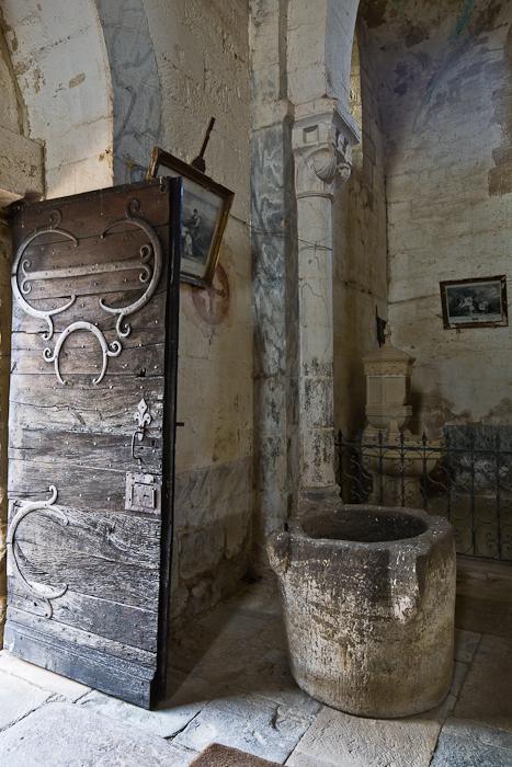 Door and font, Église Saint-Pierre-aux-Liens,  Varenne-l'Arconce (Saône-et-Loire)  Photo by PJ McKey