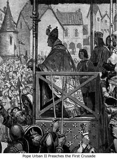 Pope Urban II preaches the Crusade at Clermont
