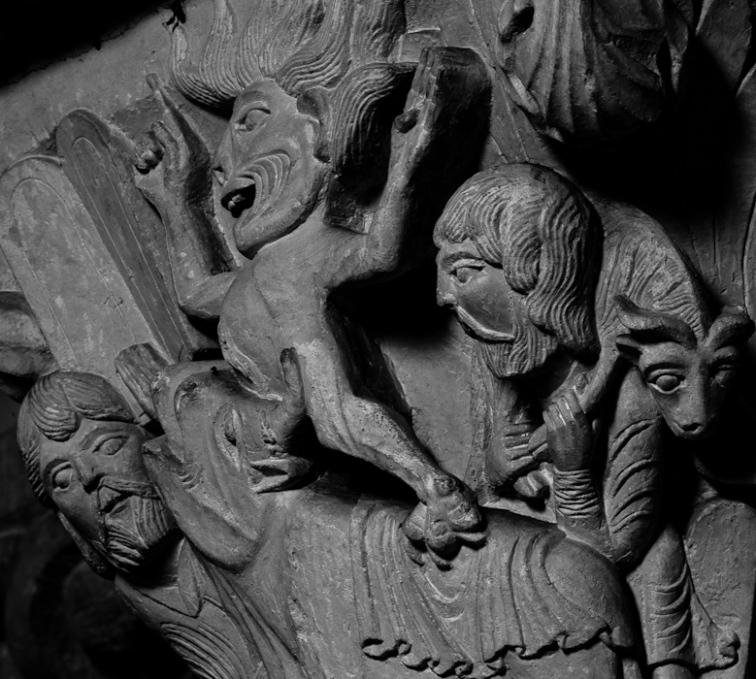 Capital - Moses and the Golden Calf, Basilique Sainte Madeleine, Vézelay (Yonne)  Photo by Dennis Aubrey