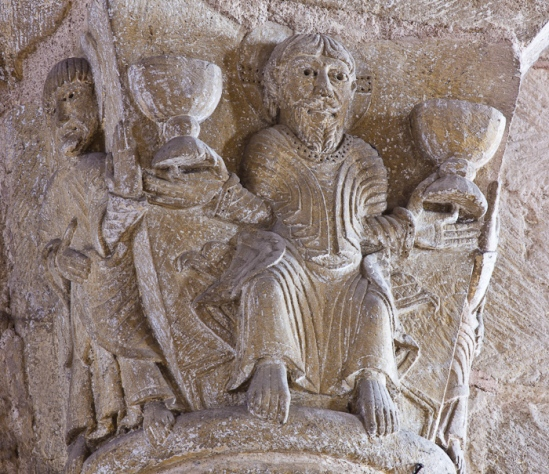 Capital detail - Christ with the chalices, Basilique Sainte Foy, Conques (Aveyron) Photo by Dennis Aubrey