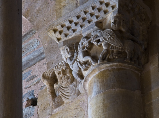 Capital detail - combat between two knights, Basilique Sainte Foy, Conques (Aveyron) Photo by Dennis Aubrey