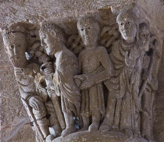 Capital detail - the arrest of Sainte Foy, Basilique Sainte Foy, Conques (Aveyron) Photo by Dennis Aubrey