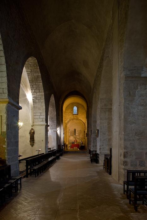 Side aisle, Abbaye Sainte-Marie d'Arles-sur-Tech, Arles-sur-Tech (Pyrénées-Orientales)  Photo by Dennis Aubrey