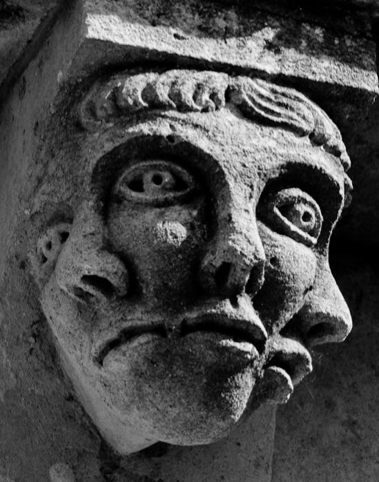 Corbel detail, Prieuré Sainte Gemme, Sainte Gemme (Charente-Maritime)  Photo by Dennis Aubrey