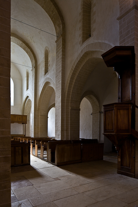 Nave from transept, Église Notre-Dame-de-la-Nativité, Malay (Saône-et-Loire) Photo by PJ McKey
