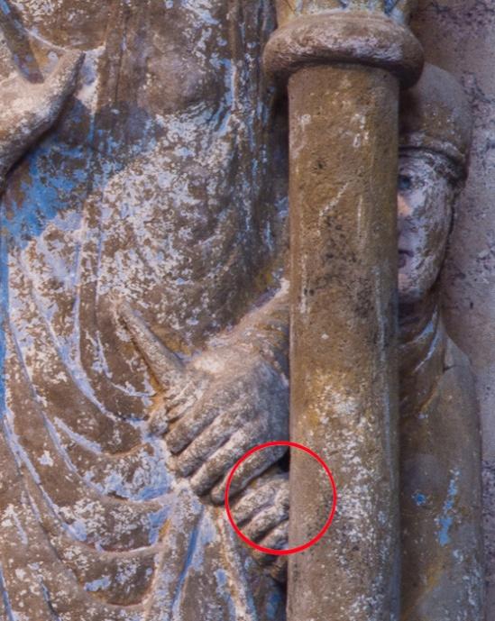 Hand detail, Annunciation panel, Basilique Sainte Foy, Conques (Aveyron) Photo by Dennis Aubrey