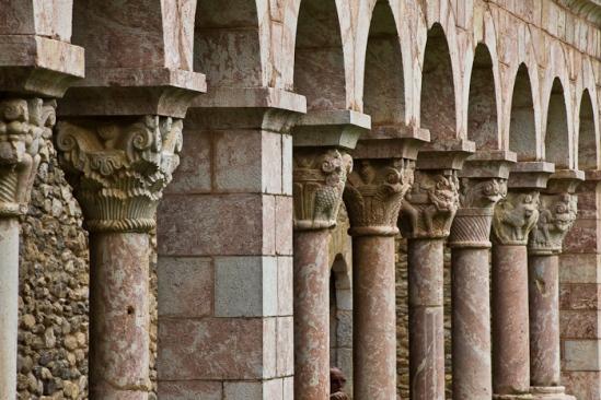 Cloister detail, Abbaye Saint Michel de Cuxa,  Casteil (Pyrénées-Orientales)  Photo by Dennis Aubrey