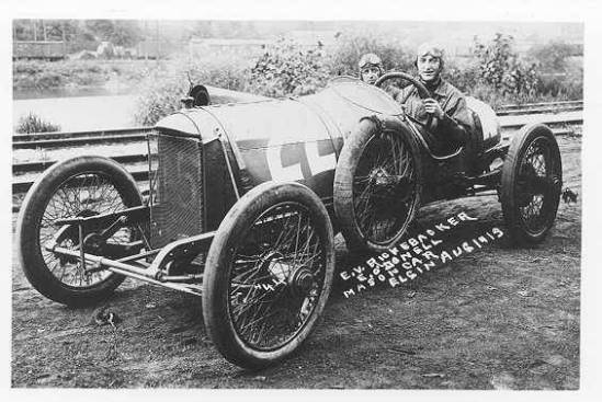 Eddie Rickenbacker and his riding mechanic Eddie O'Donnell in a Mason race car c. 1914  (Image courtesy of Auburn University Libraries
