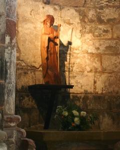 Statue of Saint James, Basilique Sainte Foy, Conques (Aveyron)  Photo by Dennis Aubrey
