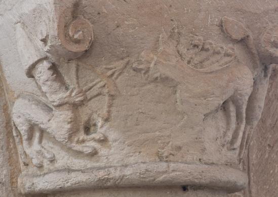Romanesque centaur hunting deer, Église Notre-Dame-de-l'Assomption, Sainte Marie-du-Mont (Manche) Photo by Dennis Aubrey