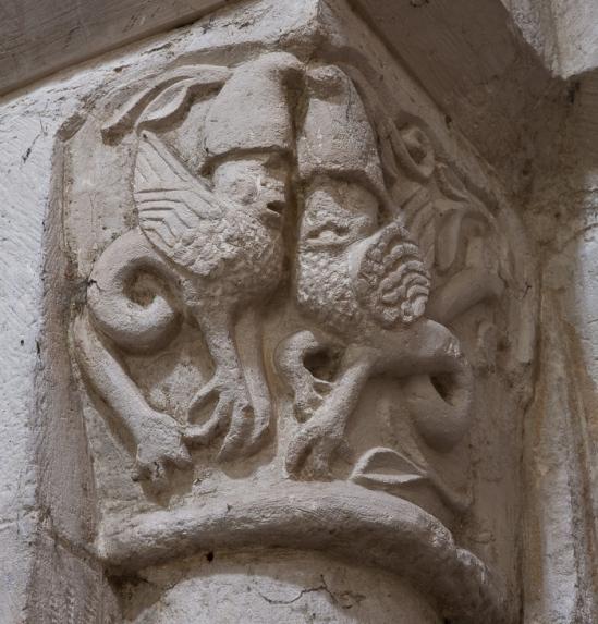 Romanesque griffins, Église Notre-Dame-de-l'Assomption, Sainte Marie-du-Mont (Manche) Photo by Dennis Aubrey